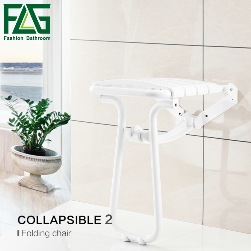FLG مقعد استحمام مثبت على الحائط s مع الساقين كرسي استحمام استرخاء مقاوم للماء أضعاف حمام مقعد استحمام G202-28W