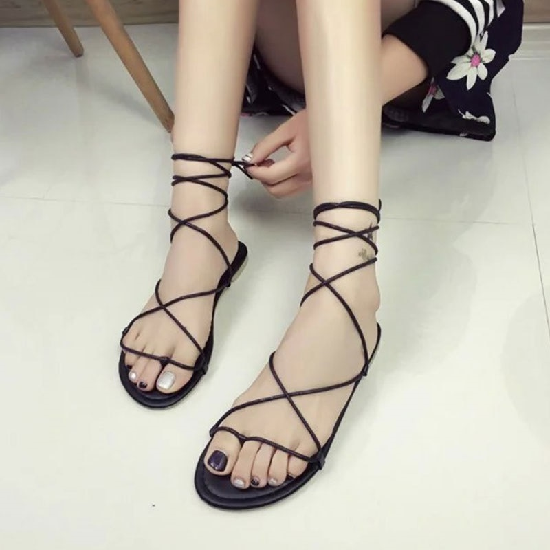 Sandalias de gladiador planas con tacones tirantes cruzados de verano para mujer, sandalias informales de color caqui y negro con cordones, talla 35-39