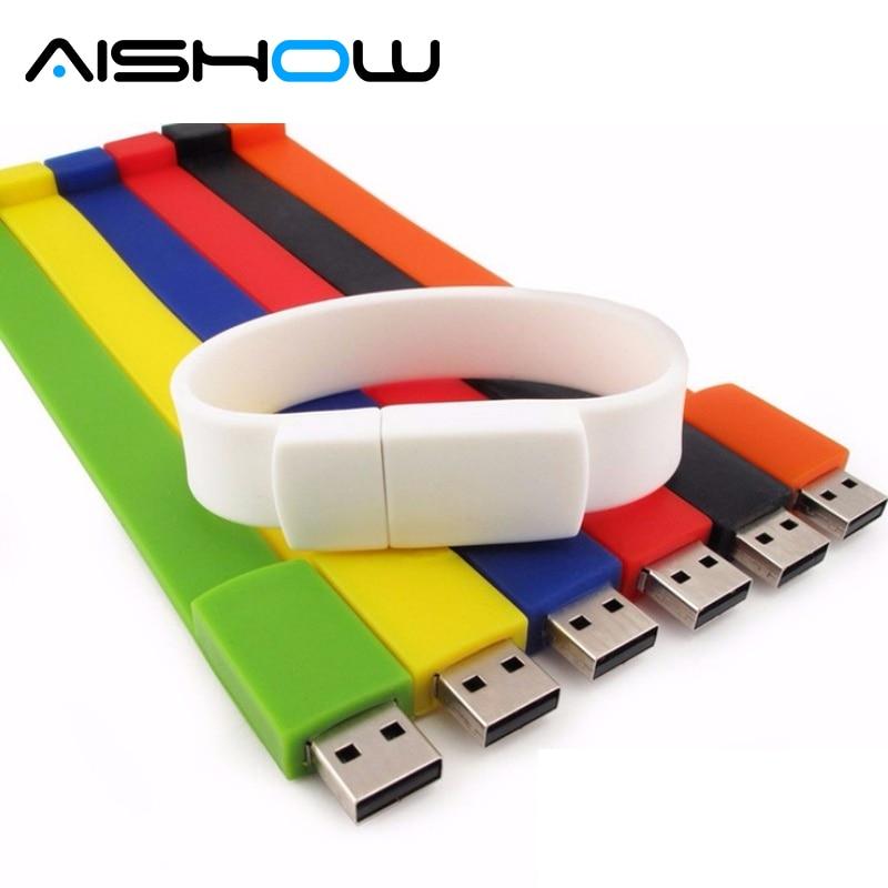 100% de la capacidad real de Silicona Pulsera de silicona 64 ГБ 32 ГБ 16 ГБ 8 ГБ 4 ГБ USB 2,0 Unidad Flash USB Pen Drive Stick U Disco
