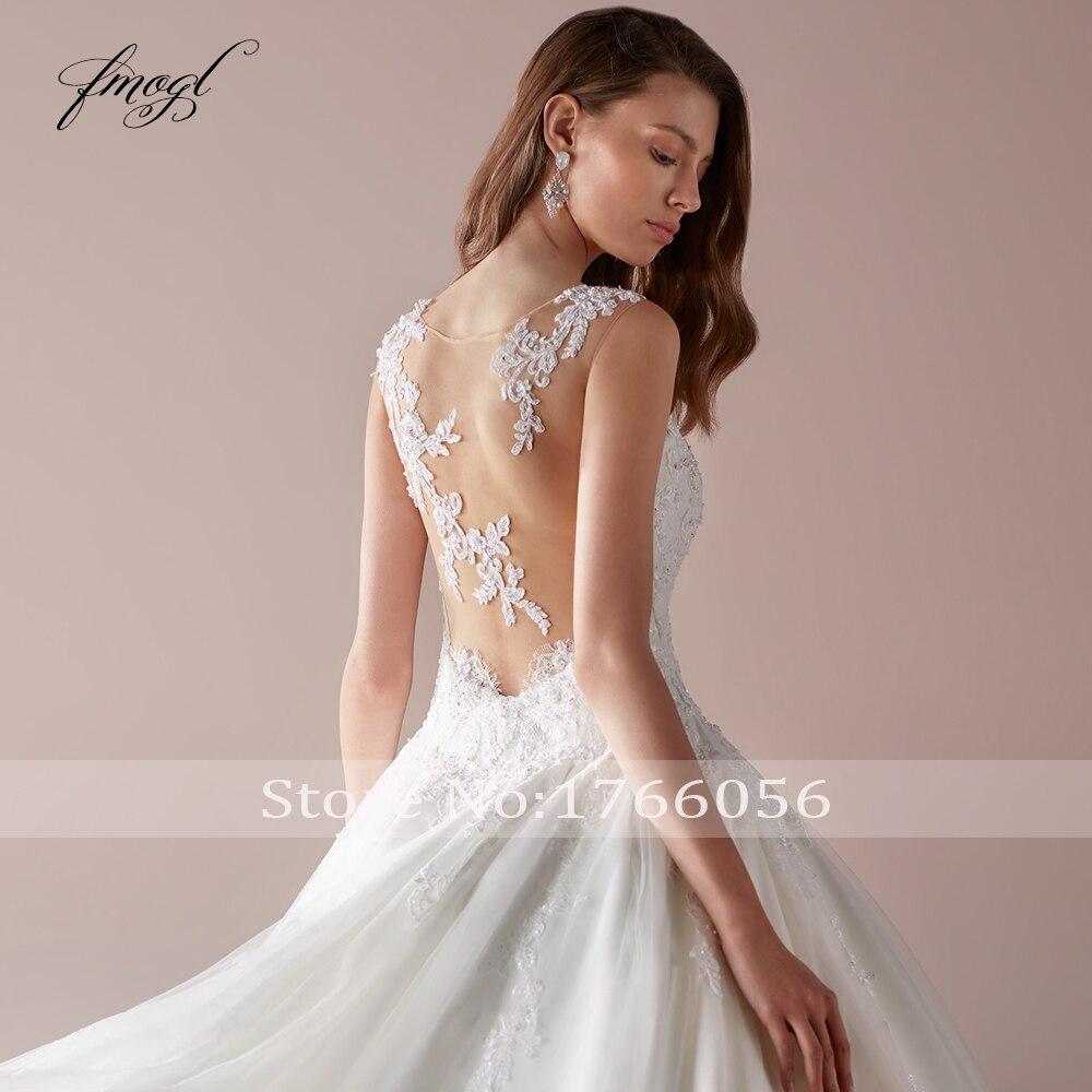 Fmogl Sexy Illusion Scoop Neck Vintage Wedding Dresses 2020 Luxury Appliques Beaded Court Train Lace A Line Princes Bridal Gowns