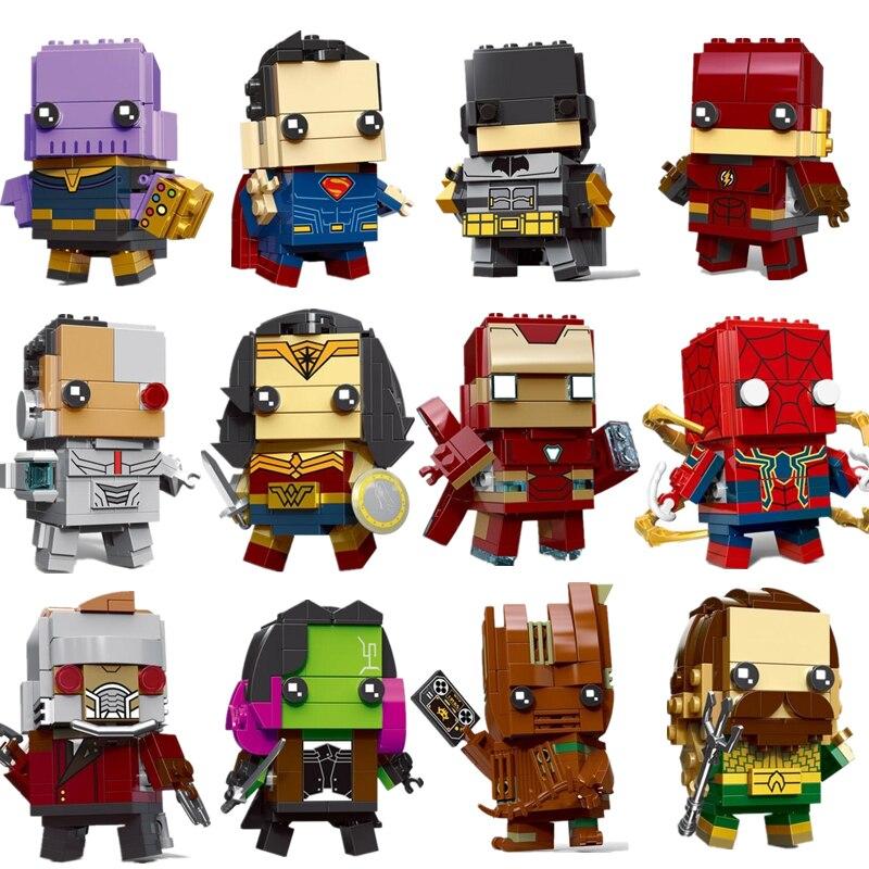 Новые Фигурки Brickheadz Супер Герои DC Лига Справедливости Brick Heads Человек-паук рождественские строительные блоки игрушки
