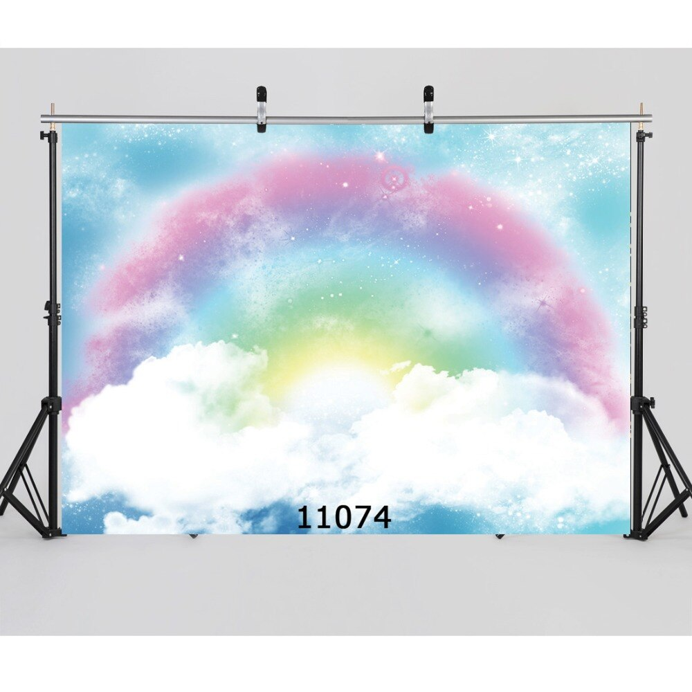 Blue Sky Cloud Rainbow Baby Party Play Photography Backdrops Fairy Tale Photo Background Photocall Backgrounds for Photo Studio