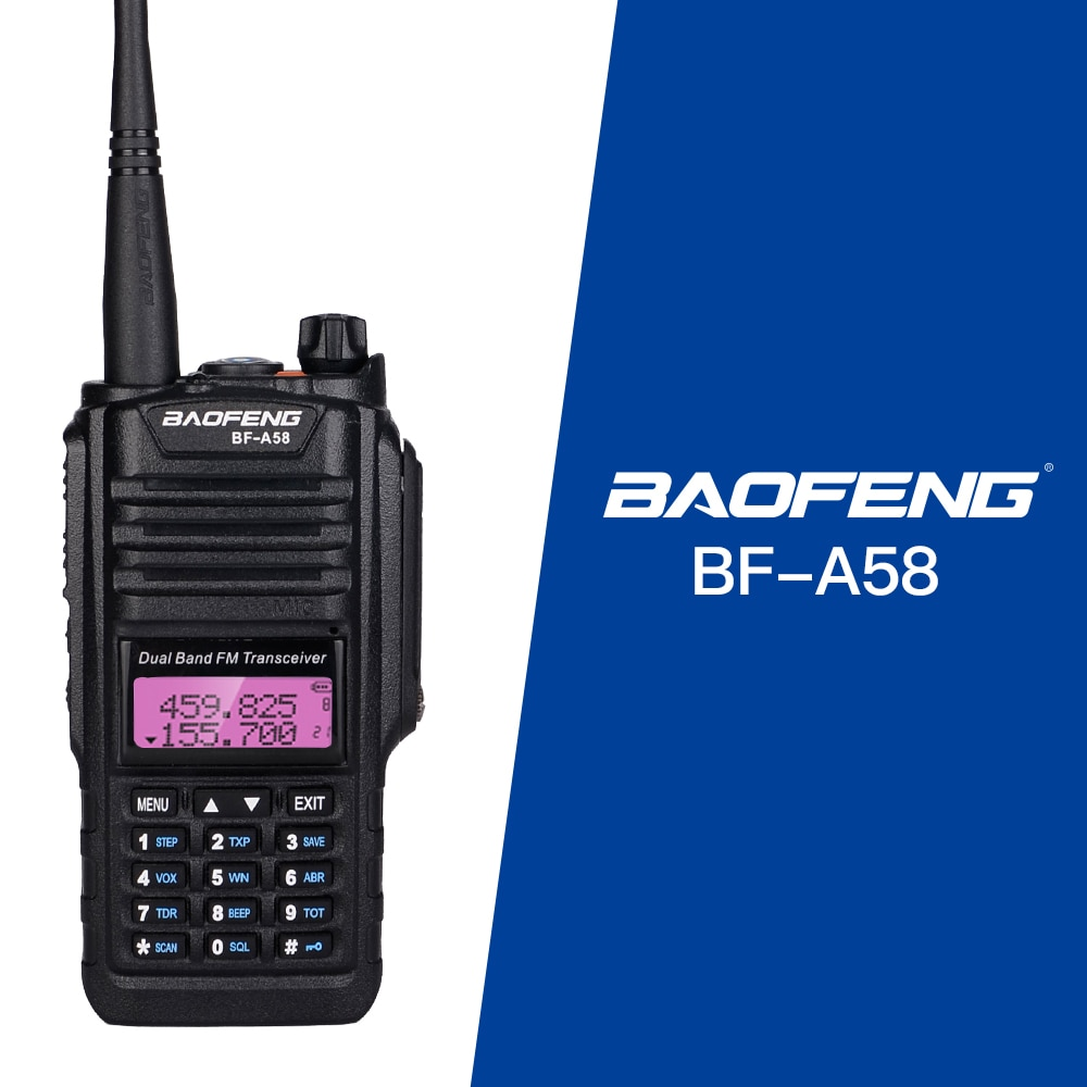 BAOFENG-Walkie Talkie profesional, BF-A58, resistente al agua, portátil con estación de Radio FM SOS, Radio CB Ham, doble banda, Vhf