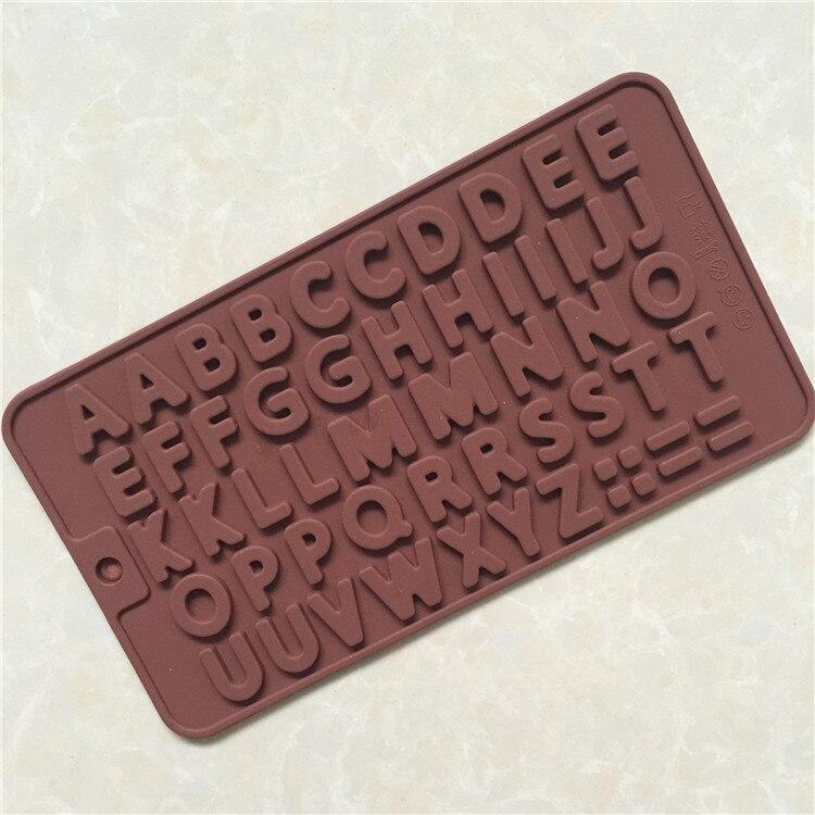 Alfabeto molde de silicone de chocolate mini fondant molde do bolo de chocolate do molde diy digital cor aleatória