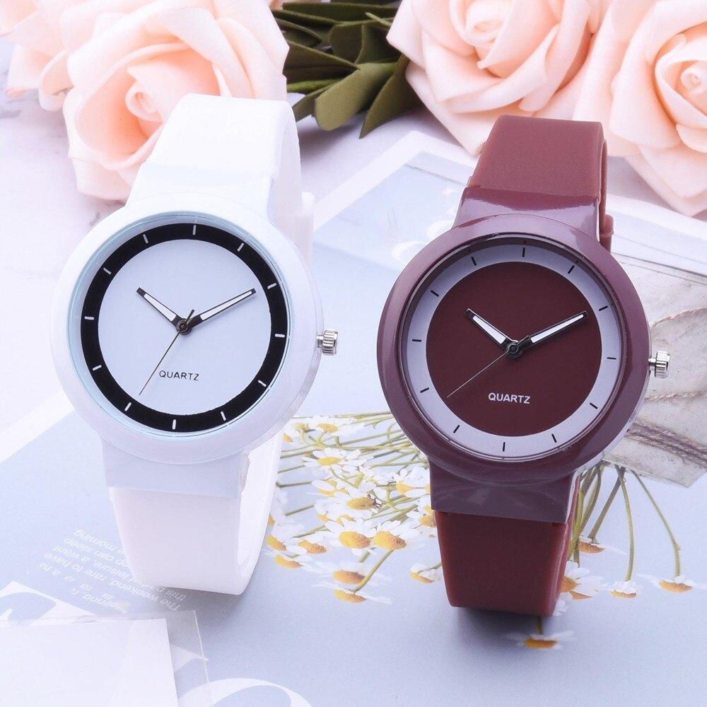 Reloj de pulsera de moda para mujer, reloj de pulsera de silicona analógico de cuarzo redondo, reloj de pulsera, reloj de mujer, relojes de mujer 2018