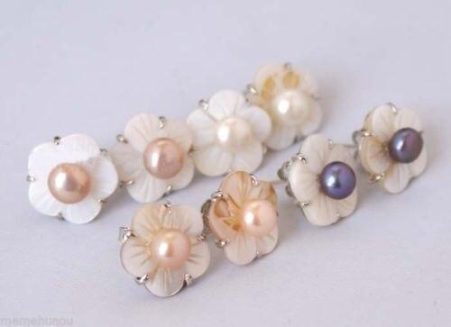Comercio al por mayor> DD4 Par Flor de Shell y Perlas de Agua Dulce multicolor Pendientes A0422-envío libre de calidad Superior