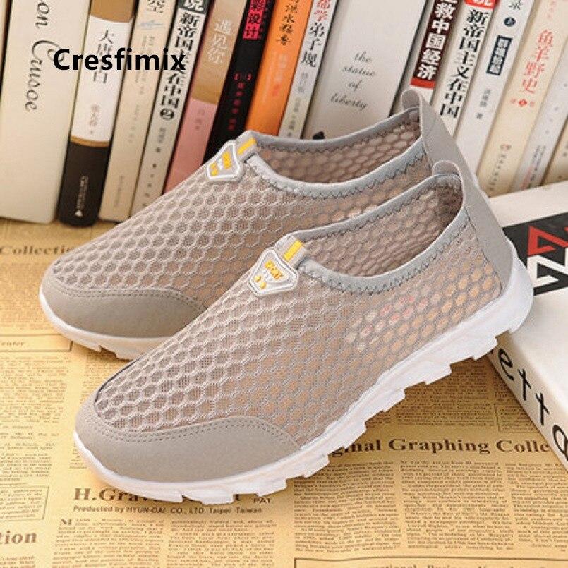 Cresfimix-zapatos planos clásicos para mujer, zapatillas transpirables para primavera y verano, a5222b