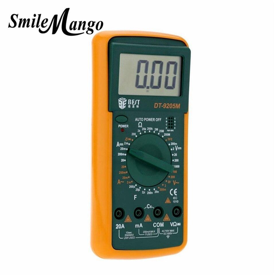 (Mejor-9205M) Versión mejorada al por mayor mejor 9205M multímetro Digital de Pantalla LCD portátil con medidor probador de Zumbador