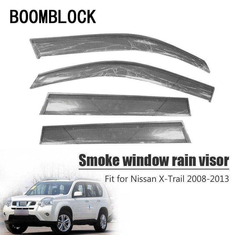 BOOMBLOCK 4pcs Car Covers Window Visor Sun Rain Wind Deflector Awning Shield ABS For Nissan X-Trail T31 2008-2013
