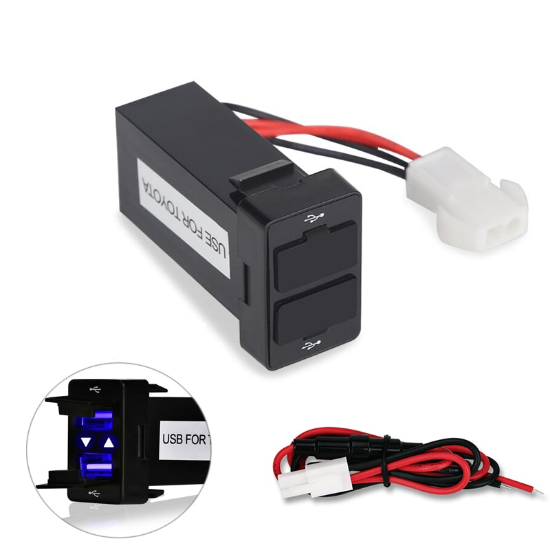 AliExpress - For TOYOTA 12v 24v Dual Usb Car Charger Usb 2.1A 2 Port Interface Auto Power Adapter Dashboard Socket Car Modification