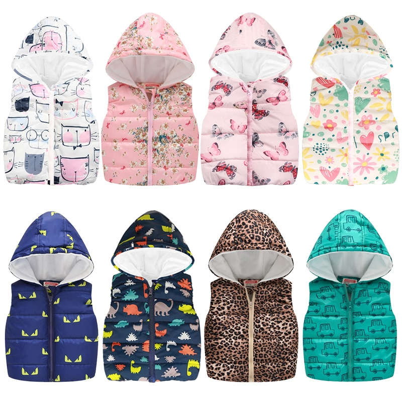 2021 Spring Autumn Girls Boys Vests Fashion Cartoon Floral Printing Waistcoat Hooded Vests For Girls Boys Warm Outerwear Coats