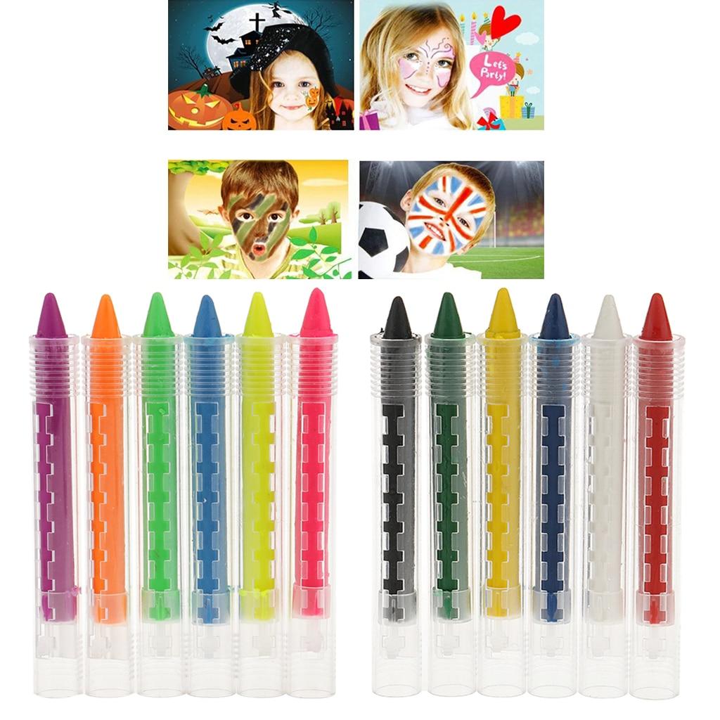 6 cores uv neon fluorescente rosto pintura corporal vara não-tóxico pintura kits