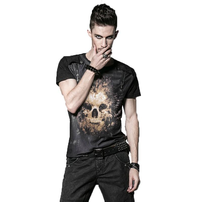 Punk Men's T-Shirt Cool Skull printing Black T-shirts Short Sleeves Top Tees Summer New Arrival