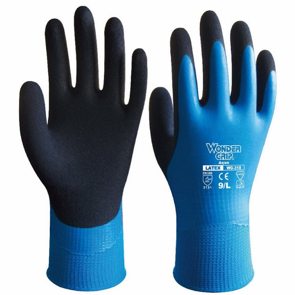 Guantes de agarre Wonder WG-318 látex Aqua impermeable Totalmente recubierto Nylon azul