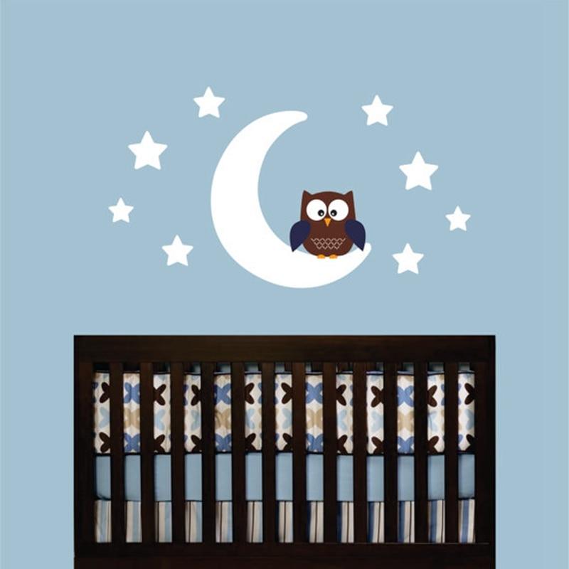 Виниловая наклейка на стену «сделай сам» с изображением совы на Луне и звезд, наклейки для детской комнаты, дизайнерские настенные художест...