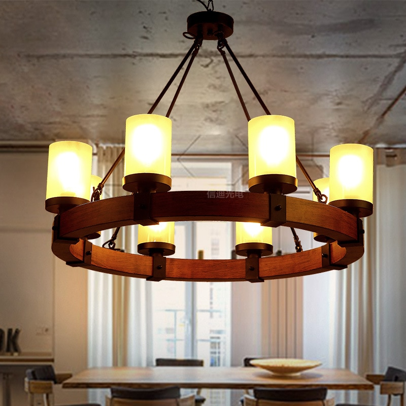 Americano retro industrial Led colgante luces E27 6/8 cabezas en forma de vela de la lámpara de madera A84