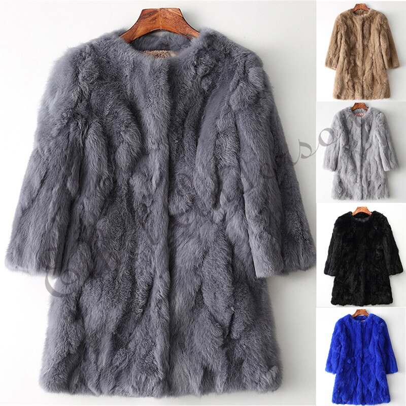 Ethel Anderson 100% Real Rabbit Fur Coat Women's O-Neck Long Rabbit Fur Jacket 3/4 Sleeves Vintage Style Leather Fur Outwear