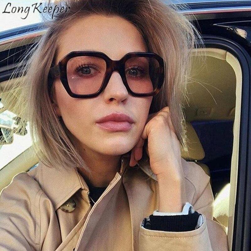Gafas de sol largas para hombres y mujeres, gafas de sol cuadradas de plástico con espejo, grandes gafas, gafas HD, pantalla de la lente, conducción, moda, al aire libre