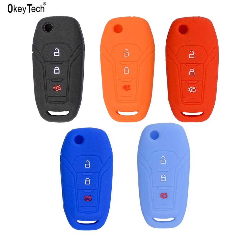 OkeyTech colorido 3 botones de silicona carcasa para llave de coche para Ford Focus 3 Fiesta conectar mondeo c max goma plegable llave del coche cubierta