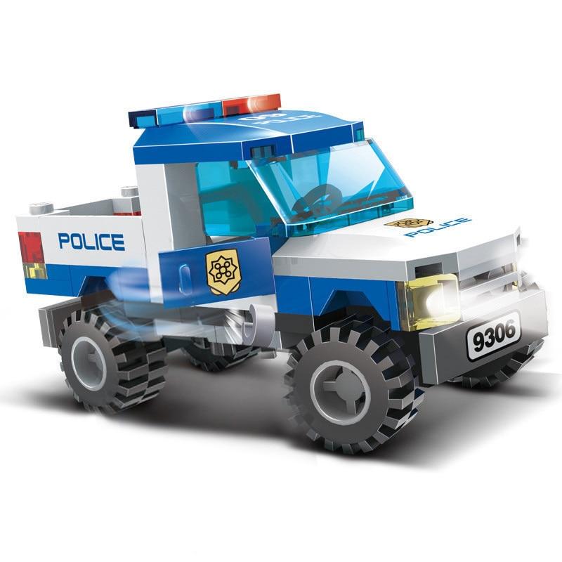 9306 Series Pickup Carro Da Polícia Da Cidade de Helicóptero Figuras Legoingse Polícia Building Block Brinquedos Educativos Para Crianças Presente de Natal