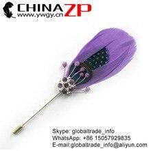 CHINAZP usine fait à la main   Leader fournisseur Unique plume doie lavande avec broche à strass