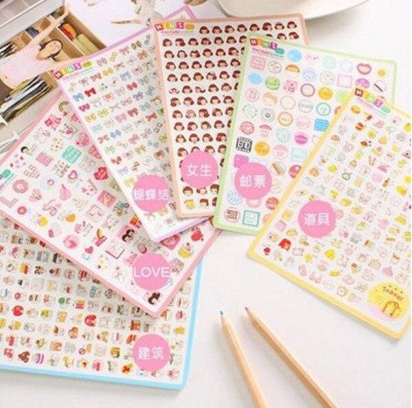 2 folhas/conjunto kawaii mini fábrica bonito dos desenhos animados arco menina diário adesivos para o telefone móvel notebook papelaria decoração adesivo