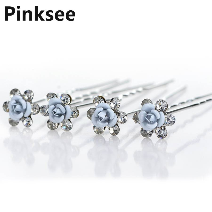 20pcs/lot Bridal Wedding Hairpins Blue Rose Flower Crystal Hairpin Bridesmaid Women Hair Jewelry Party Cheap Gift hair pin