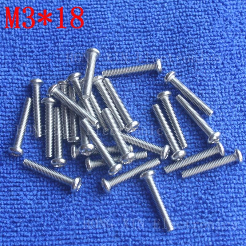 M3*18 304Stainless Steel Screw 18mm Round Head Screws Phillips Crosshead Thread Bolt Brand new fastener tools 100pcs