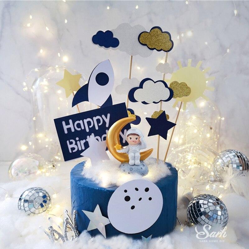 Ins foguete nuvem branca bolo topper astronauta planeta decoração feliz aniversário dia das crianças festa de cozimento suprimentos linda presentes