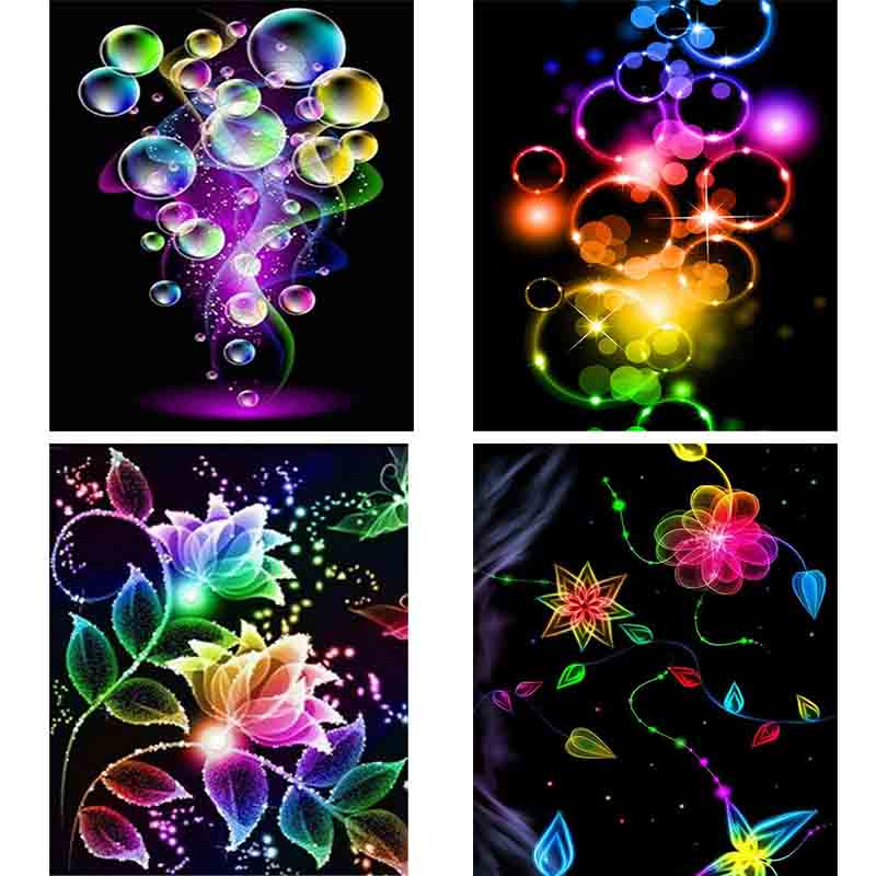 Full Square Diamond Painting Coloured flower bubbles Cross Stitch 5D DIY Diamond Mosaic Picture Of Rhinestone home Decor gift
