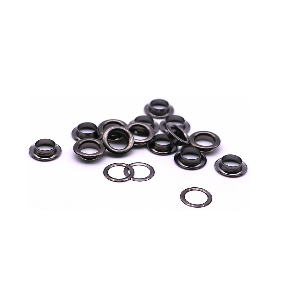 50 conjuntos por paquete (diámetro exterior) 13mm (interno) 8mm (alto) 4mm arandelas de bronce mini Q-15 de ojales de arco de 4 colores