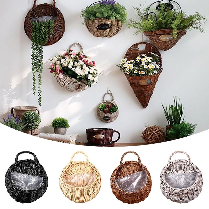 Cesta colgante con asa de mimbre, florero de plantas, pared, pasillo, planta de decoración, colgador, contenedor, maceta para plantar en jardín