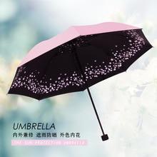 Sakura Three-fold Umbrella Women Windproof Pencil Rainy Umbrellas Animal Cat Black Coating Pocket Parasol Umbrella