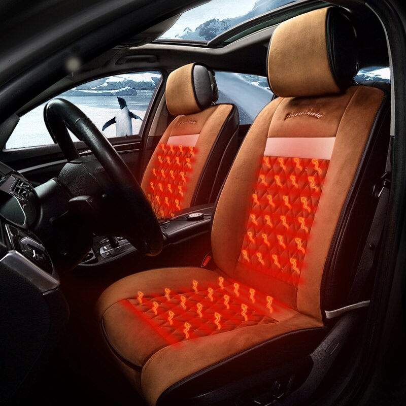 KKYSYELVA 1pcs Winter car supplies, single car heating seat, suitable for car front seat, cigarette lighter 12V power supply