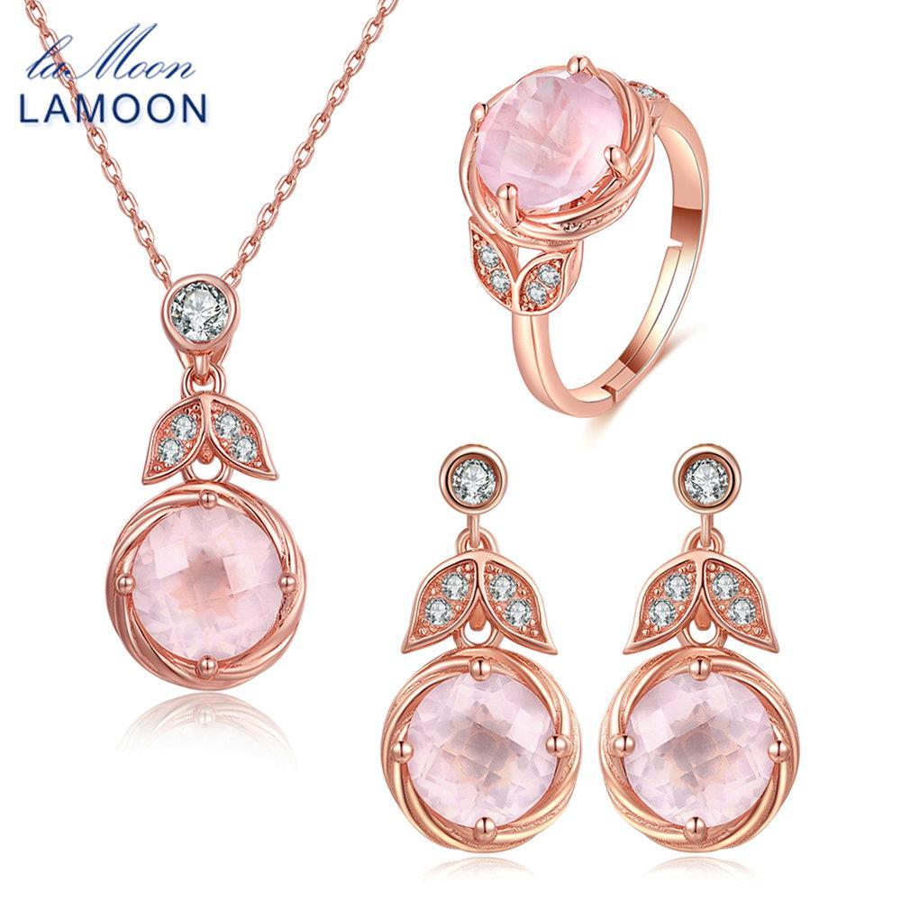LAMOON flor clásica 100% Natural rosa cuarzo 925 plata esterlina pendientes colgantes, joyería S925 V023-1