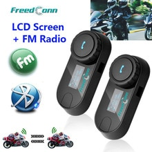 New Updated Version! FreedConn T-COMSC Bluetooth Motorcycle Helmet Intercom Interphone Headset LCD Screen + FM Radio
