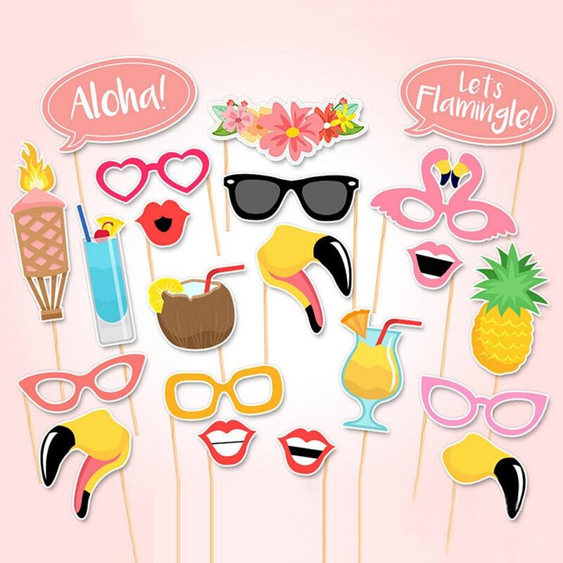 21 шт., бумажные изделия, товары для вечеринок, фламинго, тропические летние фотобудки, реквизит, палочка, день рождения, украшения для пляжной вечеринки