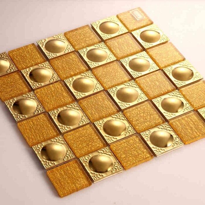 3D Золотой цвет стекло Смешанная нержавеющая сталь металлическая мозаичная плитка для кухни backsplash KTV бар ванная душевая плитка