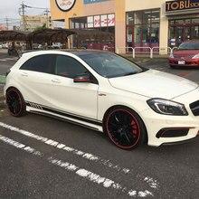 Autocollants jupe autocollants à rayures latérales   Noir brillant, 220cm x 11.5cm pour Mercedes Benz classe A W176 A180 A200 A250 A45 AMG