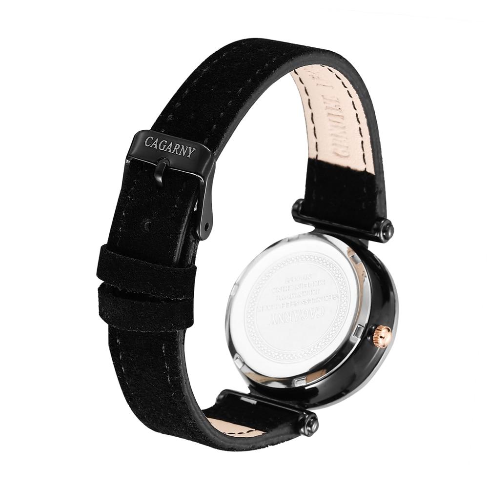 Cagarny Women Fashion Watch Creative Lady Casual Watches Small Case Crystal Stylish Desgin Black Leather Quartz Watch for Female enlarge