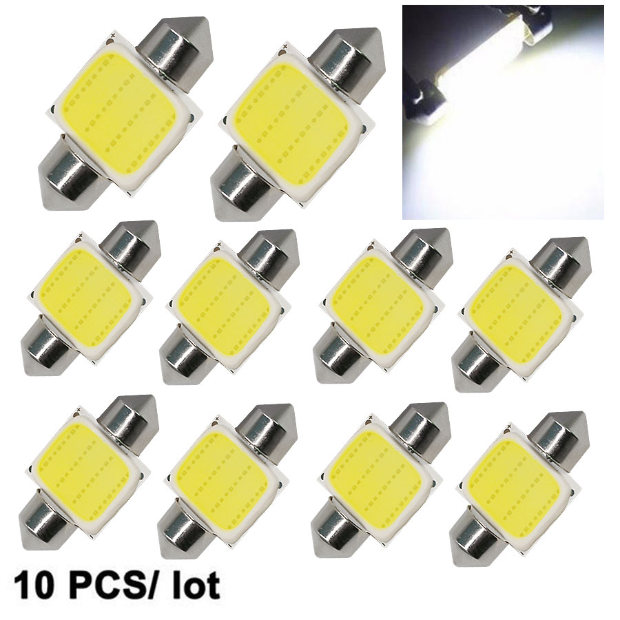 10 Uds de bóveda del adorno 31mm/36mm/39mm/41mm C5W COB LED blanco tamaño interior SMD bombilla DC12V Super brillante luz del coche fuente