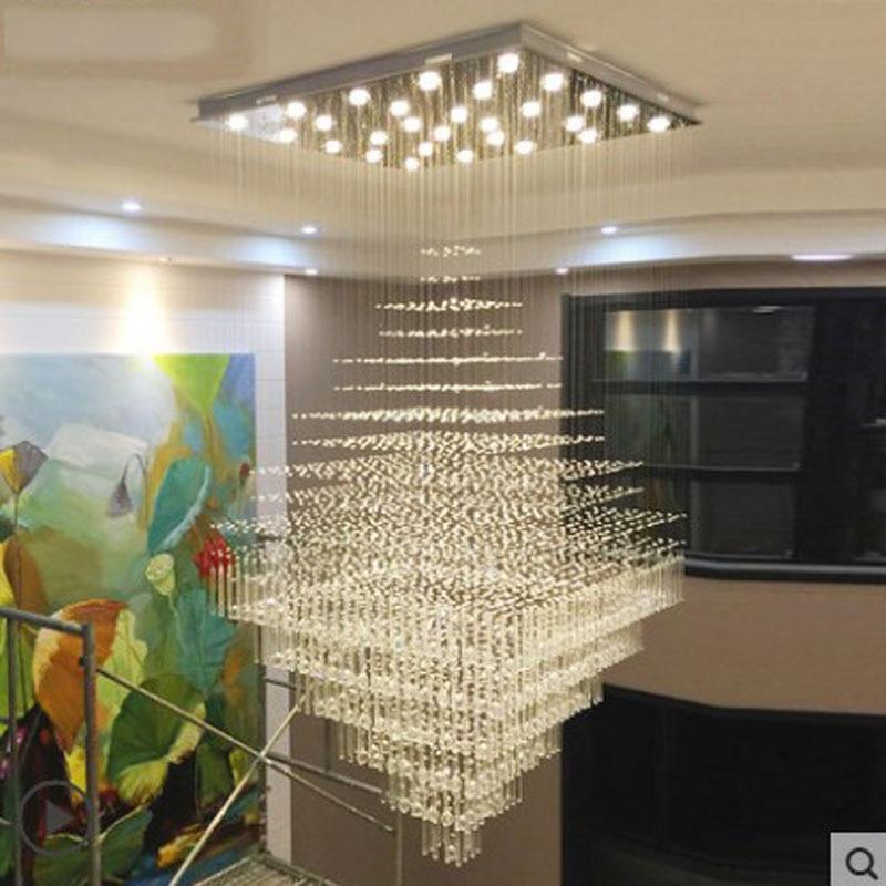 L moderna y minimalista villa gran candelabro de construcción dúplex escalera luz rectangular araña de cristal sala de estar luz de pasillo