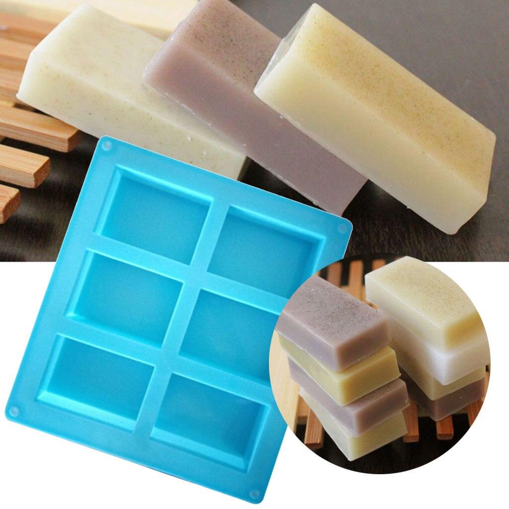 Molde de silicona para jabón DIY de 6 cavidades para fabricación artesanal de jabón, molde 3D Oval cuadrado redondo moldes para jabones, moldes para pasteles caseros, regalos