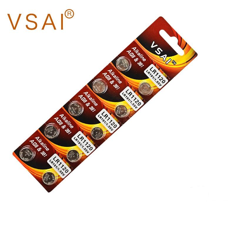 10 unids/pack VSAI AG8 LR1120 391 pila de botón alcalina de la batería de 1,5 V