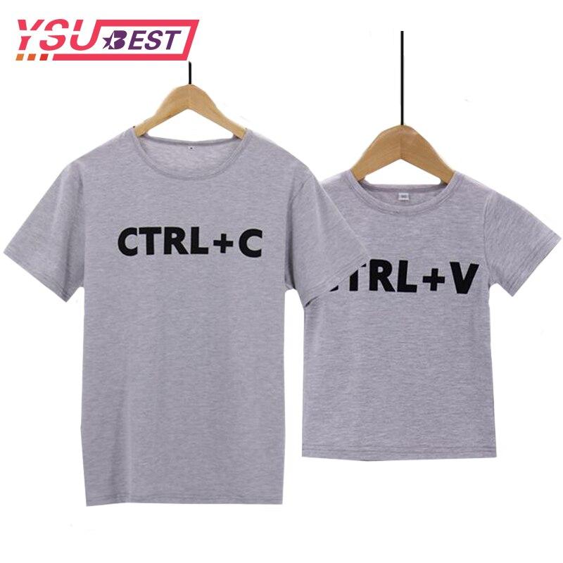Летняя семейная одежда для папы и сына, Одинаковая одежда для папы и меня, Милая футболка с принтом «Ctrl C + Ctrl V», семейная одежда, 2020
