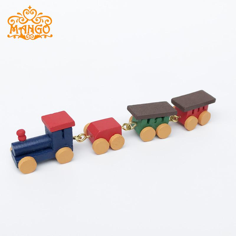 1/12 casa de muñecas en miniatura lindo juguete pintado de madera tren conjunto carruajes decoración para casa de muñecas accesorio tren educativo infantil