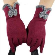 Dedo completo Smartphone guantes para tocar la pantalla mujeres mitones invierno guantes arco cálido lana suave pantalla táctil guantes Mujer