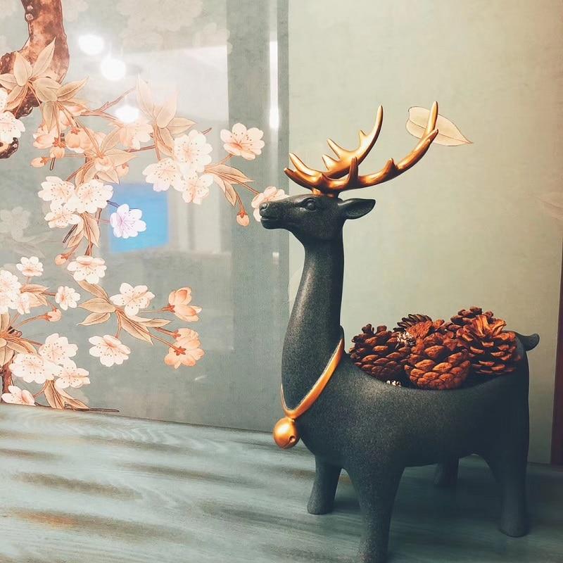 Estátua de Resina Recipiente de Armazenamento Caixa de Sapato Desktop em Casa Decoração de Casamento Presente de Natal Nordic Cervos Chave Sala Gabinete