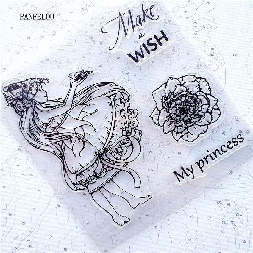 PANFELOU flores hadas transparente sello de silicona transparente/sello DIY scrapbooking/álbum de fotos decorativo claro hojas de sello