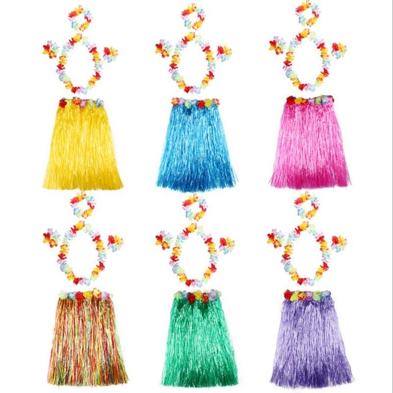 Plastic Fibers Women Grass Skirts Hula Skirt Hawaiian costumes 30CM/40/CM60CM/80cm Ladies Dress Up Festive & Party Supplies